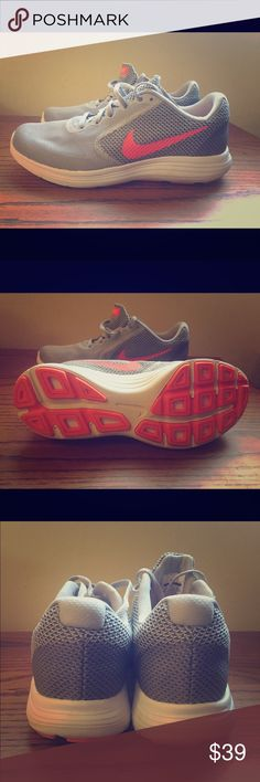 Nike Revolution 3 Women's Running Shoe These shoes are super comfortable for running or cross training in the gym or outside!  Worn once, they are a little big on me. Run pretty true to size for Nikes. Nike Shoes Athletic Shoes
