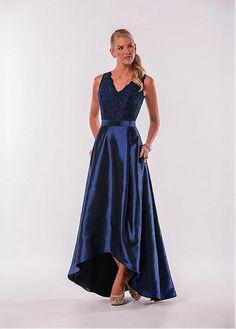 Fashionable Lace & Taffeta V-Neck A-Line Hi-lo Bridesmaid Dresses