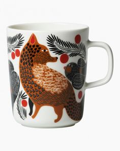 """Marimekko Ketunmarja White Mug This festive and folkloric print by Aino-Maija Metsola is called Ketunmarja, or """"Fox Berry."""" As the name suggests, it depicts a whimsical woodland scene of foxes and birds among juicy berries. Marimekko, White Dinnerware, Kartell, Little Birds, Goods And Services, Bold Prints, Decoration, Brown And Grey, Stoneware"""