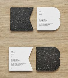 Highly Textured Black And White Custom Die Cut Business Cards For A Cafe