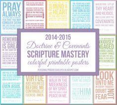 Doctrine & Covenants Scripture Mastery Colorful Printable Posters
