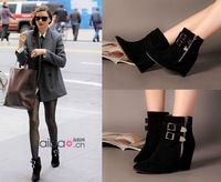 2014 New Isabel Marant wedge black suede genuine leather belt buckle pointed toe ankle boot women short boot dress shoes
