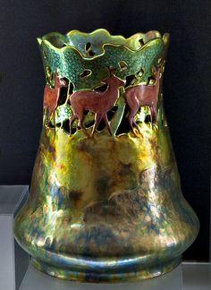 @ Zsolnay, Pécs, Eosin-Glaze Decorated Earthenware Vase.