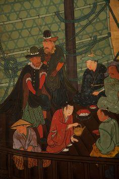 Japanese Screen: Portuguese Gentlemen (Namban screen) on a Japanese Ship | Naga Antiques