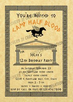 Percy Jackson Party Invitation by Proverb31Creation on Etsy, $10.00