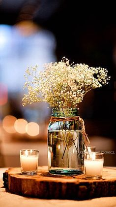 Candles & Baby's Breath ... Simple Yet SO Pretty!