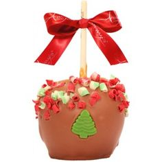 Christmas Curls Caramel Apple w/ Milk Belgian Chocolate - For more information please visit: http://www.amysgourmetapples.com/gifts-by-season/christmas-gifts/christmas-curls-caramel-apple-w-milk-belgian-chocolate.html