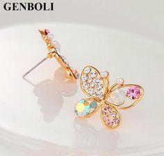 1pair Lovely Crystal Rhinestone Hollow Butterfly Ear Stud Earrings Gift Nice Chic Stud Earrings For Women Newest #Affiliate