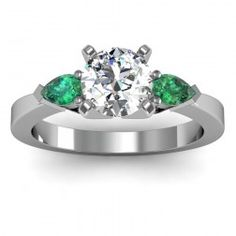 Emerald Round & Princess Diamond Engagement Ring set in 18k White Gold  In stockSKU: S1001-EM-18W
