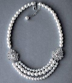 Bridal Pearl Rhinestone Necklace Triple Strand by LXdesigns, $59.00