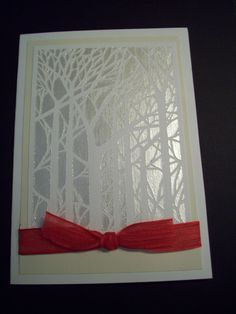 Dreamweaver Bare trees stencil with Pearlescent Embossing Paste