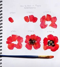 33 + Most popular ways to watercolor paintings easy step by step flower - PaintinG Watercolor Flowers Tutorial, Watercolor Poppies, Step By Step Watercolor, Watercolor Water, Step By Step Painting, Watercolour Tutorials, Watercolor Techniques, Poppies Painting, Simple Watercolor Flowers