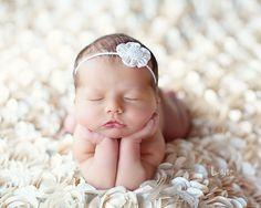 Baby Headband, Ivory White Newborn Headband with Pearl Center, Great for Photo Prop