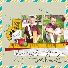 First Day of School digital scrapbook layout page by Chanell Rigterink
