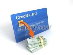 3D credit card with bundle of currency