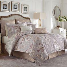 Victoria Gray Floral Comforter Bedding by Croscill