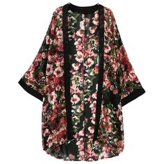 Floral Print Black Chiffon Kimono ($15) ❤ liked on Polyvore featuring cardigans and black