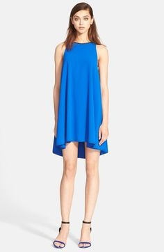 T+by+Alexander+Wang+Leather+Trim+Trapeze+Crepe+Dress+available+at+#Nordstrom