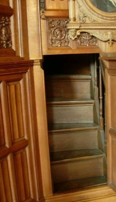 Stairway to hidden room in Winchester Mansion built in 1874