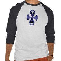 Blue Skull Halloween 3/4 Sleeve Raglan Tees