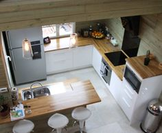 Photo Deco : Cuisine  Blanc    Chalet Moderne