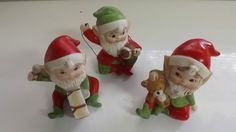 VINTAGE ( 3 ) PC SET OF CHRISTMAS HOMCO ELF FIGURINES  # 5618