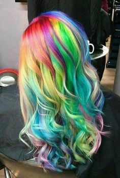 Rainbow hair - page 3 of 16 free hair color pictures) Cute Hair Colors, Pretty Hair Color, Beautiful Hair Color, Hair Color Pink, Hair Dye Colors, Pelo Multicolor, Hair Color Pictures, Dyed Hair Pastel, Rainbow Hair