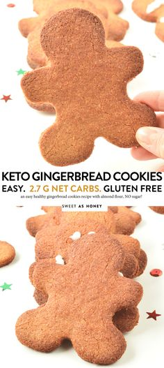 christmas cookies aesthetic Weihnachtspltzchen KETO GINGERBREAD COOKIES the best low carb almond flour keto christmas cookies Healthy Gingerbread Cookies, Vegan Gingerbread, Sugar Free Cookies, Keto Cookies, Keto Friendly Desserts, Low Carb Desserts, Shortbread, Galletas Keto, Low Sugar Recipes