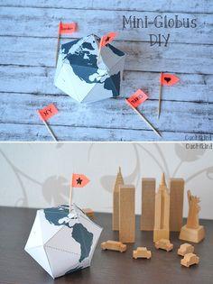 Mini-Globus zum selber Basteln mit Anleitung und Vorlage zum Ausdrucken. DIY Globe Hochzeitsgeschenkidee
