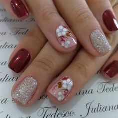 Installation of acrylic or gel nails - My Nails Best Acrylic Nails, Acrylic Nail Designs, Nail Art Designs, Red Nails, Hair And Nails, Nailart, Acryl Nails, Pretty Nail Art, Flower Nails