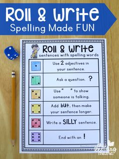 Roll and Write Sentences with Spelling Words-This Reading Mama