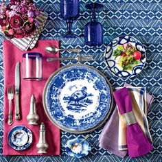 Turkey Plate Special: Blue + White + Magenta