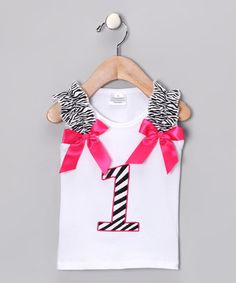 Take a look at this White & Pink Zebra '1' Tank by Under The Hooded Towels on #zulily today!