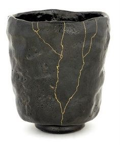 The Japanese wabi-sabi art of kintsugi, repairing broken pottery with gold or silver and laquer, so that a kintsukuroi piece is more beautiful for having been broken. Description from pinterest.com. I searched for this on bing.com/images