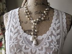 Pearl crochet wrap necklace  Pearl Bella   neutral by slashKnots, $168.00