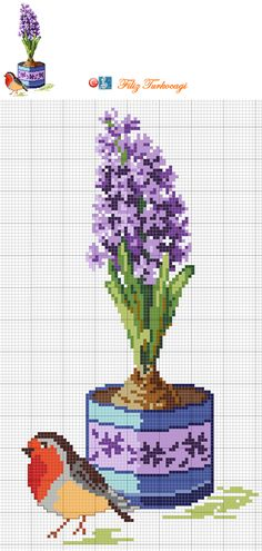 Lilac pattern / chart for cross stitch, crochet, knitting, knotting, beading, weaving, pixel art, and other crafting projects