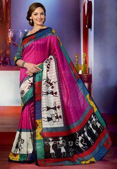 Fuchsia Art Bhagalpuri Silk Saree with Blouse: SGA5546