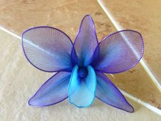 Items similar to Purple and blue orchid SINGLE flower, nylon flowers, weddings decoration, parties, centerpieces on Etsy Nylon Flowers, Wire Flowers, Giant Paper Flowers, Fabric Flowers, Beautiful Flower Quotes, Beautiful Flowers Wallpapers, Wedding Flower Decorations, Wedding Flowers, Wedding Blue