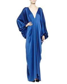 B2V2S Lanvin Silk Satin Plunging Balloon-Sleeve Gown, Royal Blue