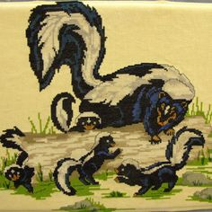 "Skunk Family Cross Stitch Completed 12x16"" Finished Vintage Animal Skunks Log"
