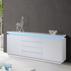 220 cms wide Lenovo 2 Door Sideboard In White High Gloss With LED Lighting Finish: White High Gloss Features: Dining Suites, Luxury Dining Room, Dining Room Design, Dining Cabinet, Sideboard Cabinet, Luxury Furniture, Furniture Design, White Sideboard, Contemporary Dining Table