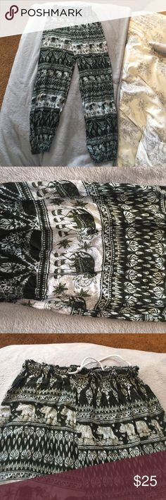 Thai elephant pants😍 BOUGHT IN THAILAND Got these in Thailand during my spring break trip 2016 at a local Thai market! I don't wear these, but the ones I do wear are the best lounge pants😍 Pants Wide Leg
