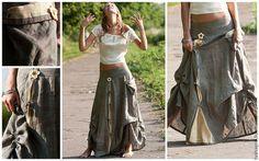 """Юбки ручной работы. Ярмарка Мастеров - ручная работа юбка из льна в стиле бохо """"Запах полыни"""". Handmade."""