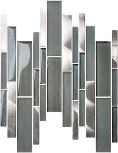 Wholesale Strip crystal Mix metal Mosaic,Long Strip Glass Mosaic wall tile design