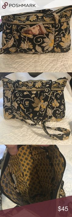 Vera Bradley bag This Vera bag is called Song Bird. I enjoyed the background being mostly black. The addition of the soft yellow accents, yes my favorite. It's n like new condition. 6 inside pockets and 1 outside pocket. Vera Bradley Bags Totes