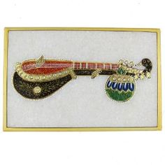 Arts Of India Embossed Miniature Painting Of Indian Music Instruments On Marble Plate: Amazon.co.uk: Kitchen & Home