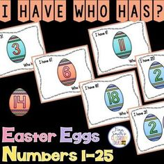 The students in your small group math rotations will adore this Easter I Have, Who Has? Easter Eggs Numbers 1-25 Cards. Also includes, Teacher Directions and a Teacher Answer Key. This Spring  I Have, Who Has? Resource Includes:1 Teacher Direction Sheet, 2 Teacher Answer Keys, 25 Cards with Easter Egg Themed Numbers in Numerical Order and 25 Cards with Easter Egg Themed Numbers in Mixed Order. Terrific for an Emergency Substitute Tub, Folder or Binder! {Kindergarten, First Grade, Easter}