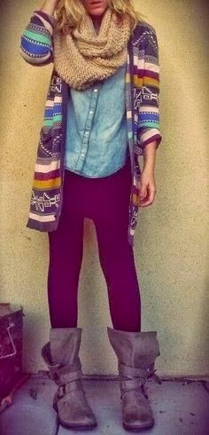 Fashion And Style: love the scarf and boots