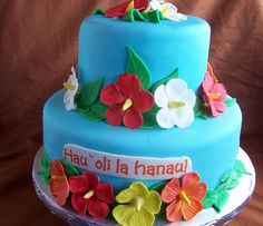 Birthday Cake Hawaiian Cakes Luau Girls Theme