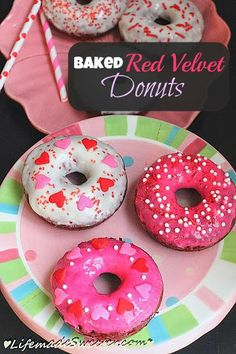Baked Red Velvet Cake Donuts with Cream Cheese Glaze - Classic Red Velvet cake transformed into donuts / doughnuts with a sweet and slightly tangy cream cheese glaze perfect for Valentine's Day! @LifeMadeSweeter